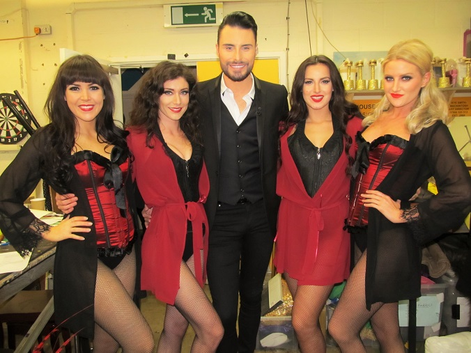 Rylan Neal-Clarke with our Burlesque themed dancers on Celebrity Big Brothers Bit on the Side