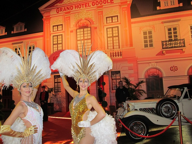 Grand Hotel Google entrance greeted by The Vegas Show Girls